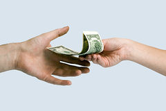 Giving money. royalty free stock photo