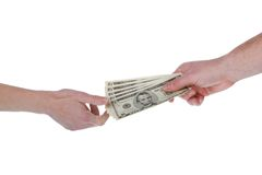 Giving money, dollar bills. Show me the money, isolated on a white background Stock Photos