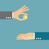 Giving money. Hand giving money,  illustration Royalty Free Stock Photos
