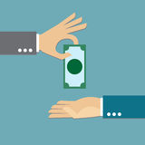 Giving money. Hand giving money,  illustration Stock Images