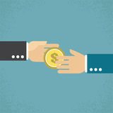 Giving money. Hand giving money, Vector Illustration Royalty Free Stock Photos
