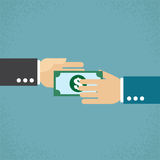 Giving money. Hand giving money, Vector Illustration Stock Image