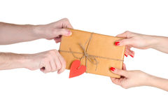 Giving parcel Royalty Free Stock Photo