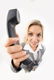Giving phone receiver Stock Photos