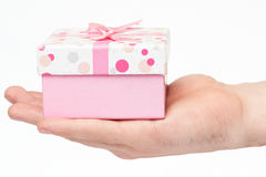 Giving pink clorful gift box Royalty Free Stock Images