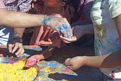 Giving of Powder. Indain Festival Of Colours, also known as Holi Mahotsav Royalty Free Stock Images