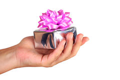 Giving a present stock photography