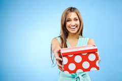 Giving a present Royalty Free Stock Photo