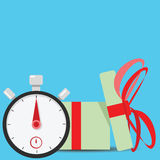 Giving present stopwatch timer. Stopwatch and time illustration concept Stock Photos