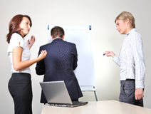 Giving a presentation on a flip chart Stock Image