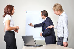 Giving a presentation on a flip chart Royalty Free Stock Image