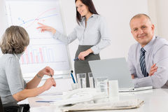 Giving presentation mature man during meeting Royalty Free Stock Images