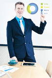 Giving presentation. Smiling businessman giving presentation with infographic Royalty Free Stock Photography