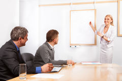 Giving presentation young woman pointing flip chart Royalty Free Stock Images