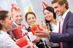 Giving presents Royalty Free Stock Images