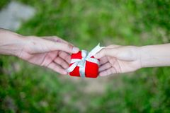 Giving red gift box in with hands On special days for special person, on grass background. Wedding ring box royalty free stock photography