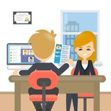 Giving the resume. Woman bring resume for the new job vector illustration