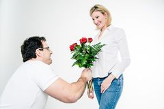 Giving Roses to the Girlfriend Stock Photography