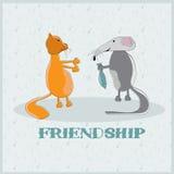 giving to a cat fish cartoon illustration Stock Photos