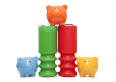 Giving to charity piggy banks Royalty Free Stock Photography