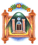 The Giving of the Torah 6. SHAVUOT. Synagogue with flowers,The Torah was given the mountain bloomed and sprouted flowers, colour pencil, symbol, judaism Royalty Free Stock Photo