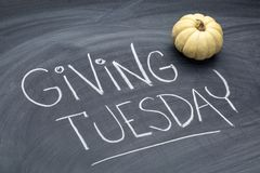 Giving Tuesday blackboard sign royalty free stock photo