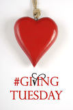 #Giving Tuesday with red heart on white - veritcal. Royalty Free Stock Images