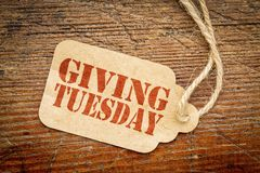 Free Giving Tuesday Sign On Paper Price Tag Stock Image - 128450411