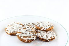 Givrage de Ginger Snaps With White Chocolate Photographie stock