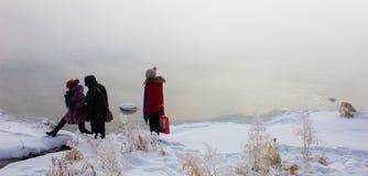 Givre le fleuve Songhua de brouillard dense de scène de neige Photographie stock libre de droits