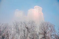 Givre le fleuve Songhua de brouillard dense de scène de neige Photos stock