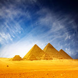 Giza. Pyramids and blue sky with clouds royalty free stock image