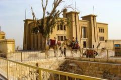 Giza, Egypt - October 20, 2009: .Building near the Great Pyramid of Giza royalty free stock photography