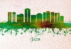 Giza Egypten horisont stock illustrationer