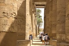 Buildings and columns of ancient Egyptian megaliths. Ancient ruins of Egyptian buildings. Stock Photo