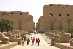 Buildings and columns of ancient Egyptian megaliths. Ancient ruins of Egyptian buildings. Stock Photography