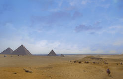Giza plateau. Great Pyramids view from panorama point of Giza plateau Royalty Free Stock Images