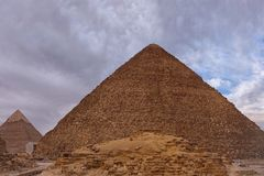 The giza plateau in the sahara desert royalty free stock image