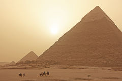 Giza Plateau in a sand storm, Cairo Stock Photography