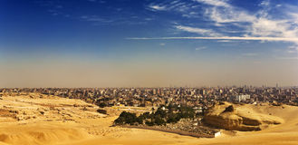 The Giza Plateau skyline. Egypt. Cairo - Giza. Cityscape from the Giza Plateau Royalty Free Stock Photography
