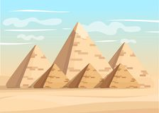 Giza pyramid complex egyptian pyramids daytime wonder of the world great pyramid of giza vector illustration.  Stock Photos