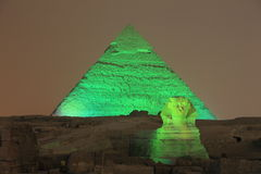 Giza pyramid and Sphinx. Light up for magical sound and light show on September 17, 2010 in Cairo, Egypt Stock Photos