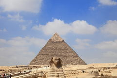 Giza pyramid and Sphinx Royalty Free Stock Image