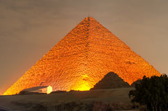 Giza Pyramid and Sphinx Light Show at Night - Cairo, Egypt Royalty Free Stock Photography