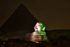 Giza pyramid and Sphinx, Magical Sound and Light Show Stock Images