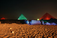 Giza pyramid and Sphinx, sound and light show, Cairo, Egypt. Stock Photo
