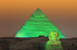 Giza pyramid and Sphinx Stock Photos