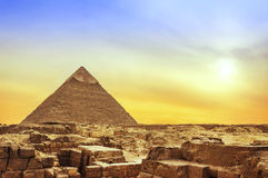 Giza Pyramid at Sunset. The Ancient Egyptian Famous Pyramid of Giza at Sunset Stock Photo