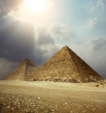 Giza pyramids. Sunlight over Giza pyramids. Egypt Stock Photo