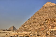 Giza Pyramids. Chephren and Mykerinos, Egypt (HDR photo Royalty Free Stock Photo